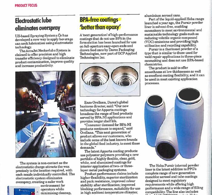Darex's BPA-NI Apperta Coatings Profiled in The Canmaker